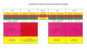 PLANNING RYTHMES SCOLAIRES 2015-2016