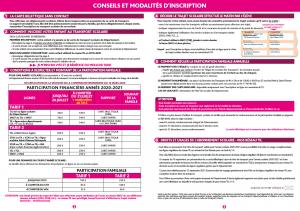 Conseils et modaltés d'inscription 2020-2021