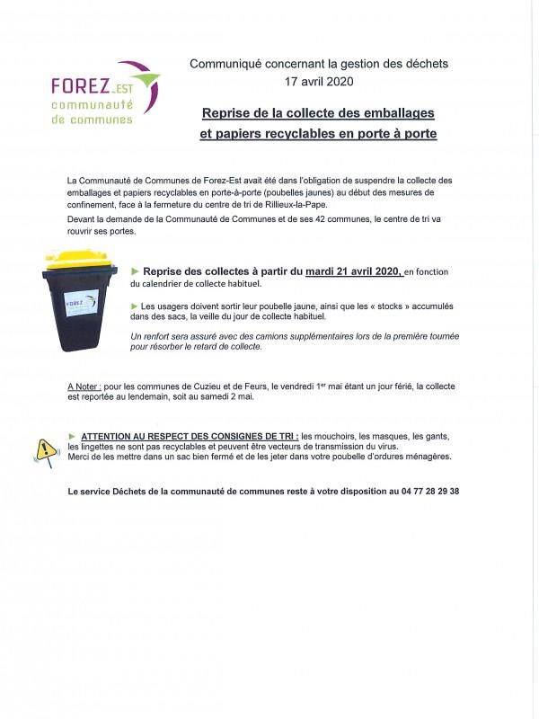 Communiqué reprise de la collecte des emballages et papiers recyclables